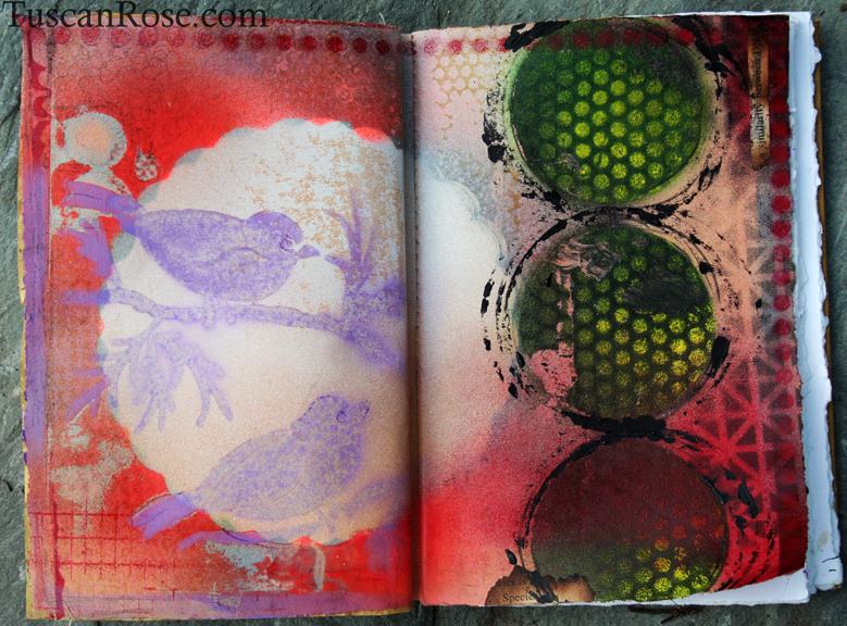 Spray paint visual journal page purple birds