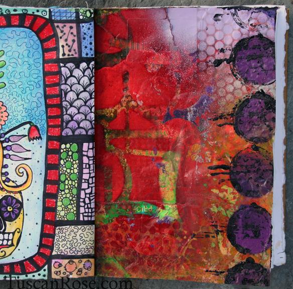Spray paint visual journal page purple dot page