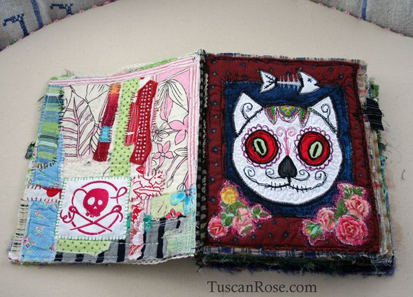 Gato muerto day of the dead fabric journal page one