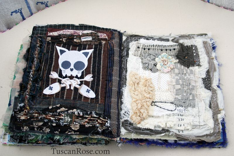 Gato muerto day of the dead fabric journal page eight