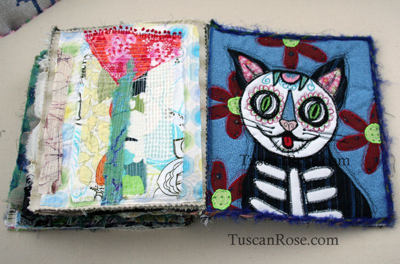 Gato muerto day of the dead fabric journal page nine
