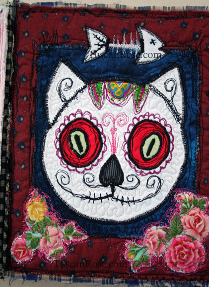 Gato muerto day of the dead fabric journal detail (2)