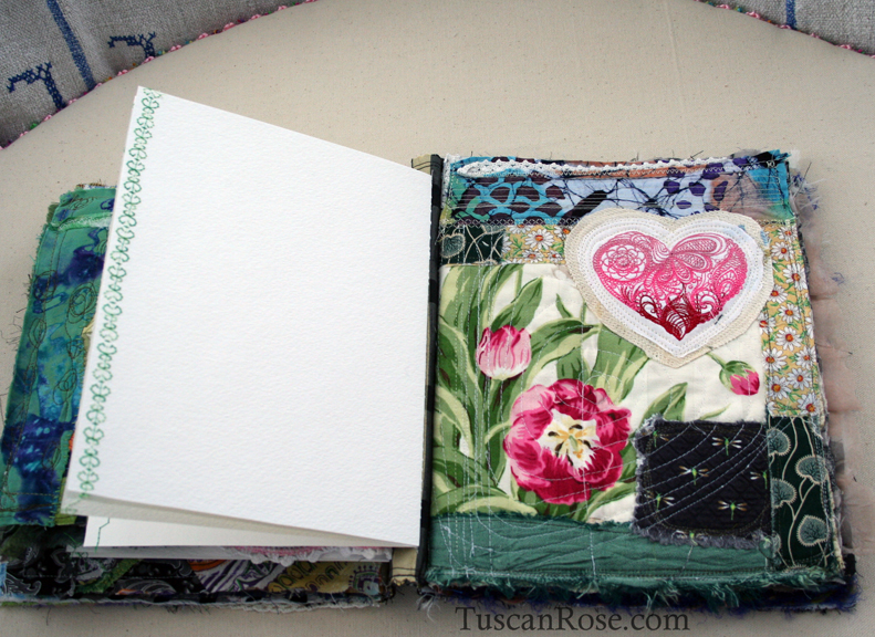 Gato muerto day of the dead fabric journal page seven