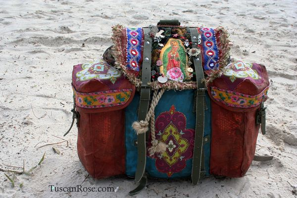 Guadalupe surfer girl mermaid military backpack boho bag