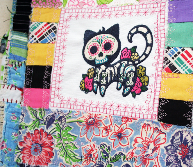 Gato muerto day of the dead fabric journal detail (1)