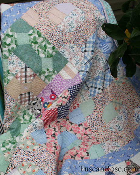 Vintage feedsack quilt top (3)
