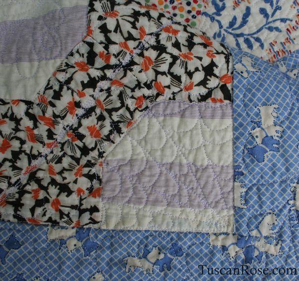 Vintage feedsack quilt top (5)