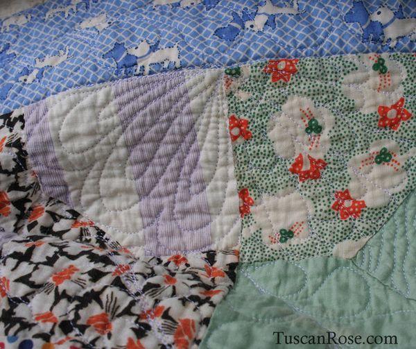 Vintage feedsack quilt top (8)