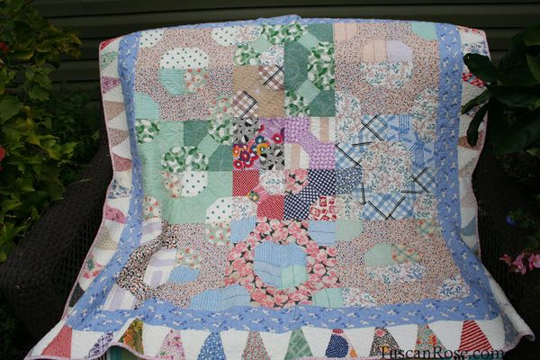 Vintage feedsack quilt top (1)