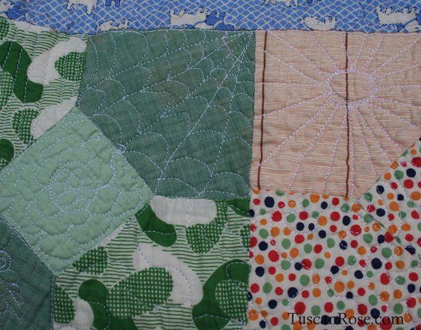Vintage feedsack quilt top (2)