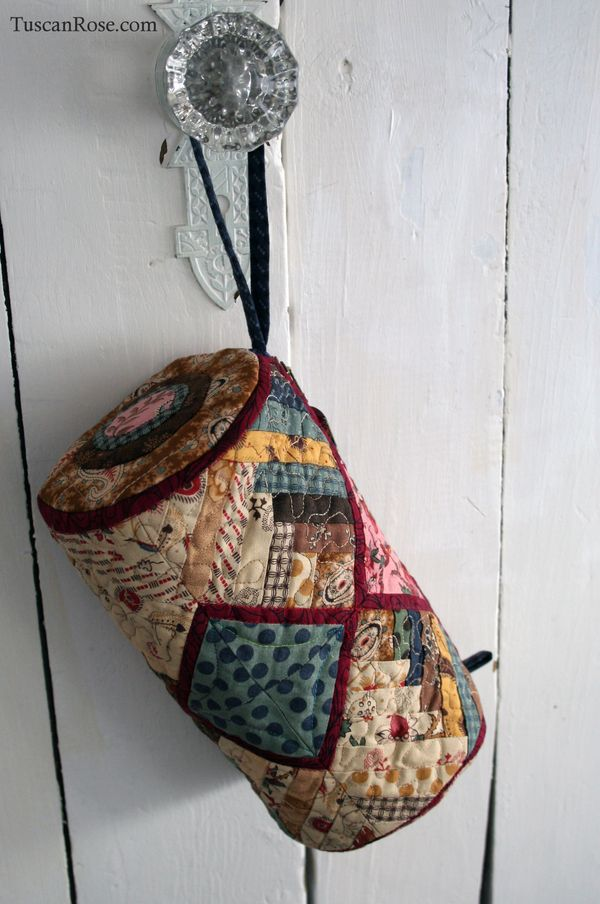 Log cabin quilted tote moda jelly roll fabric (3)