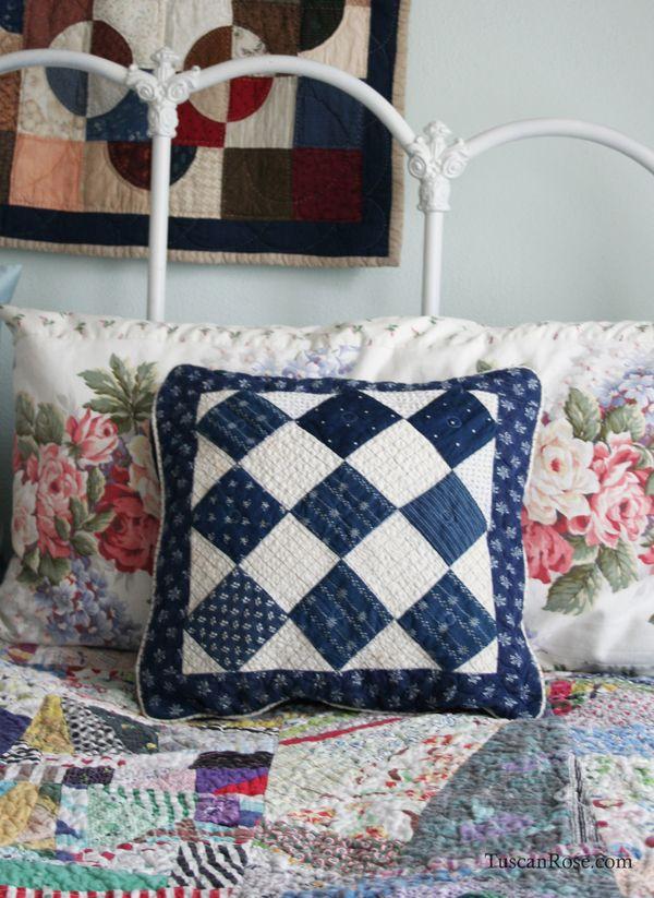 Patchwork pillow blue indigo