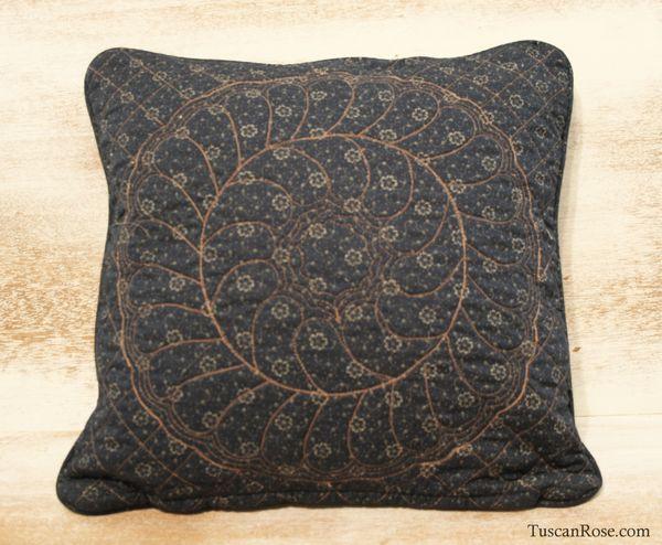 Vintage quilt square pillow
