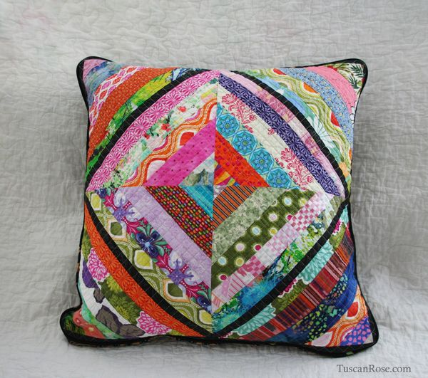 String log cabin quilted pillow cover front