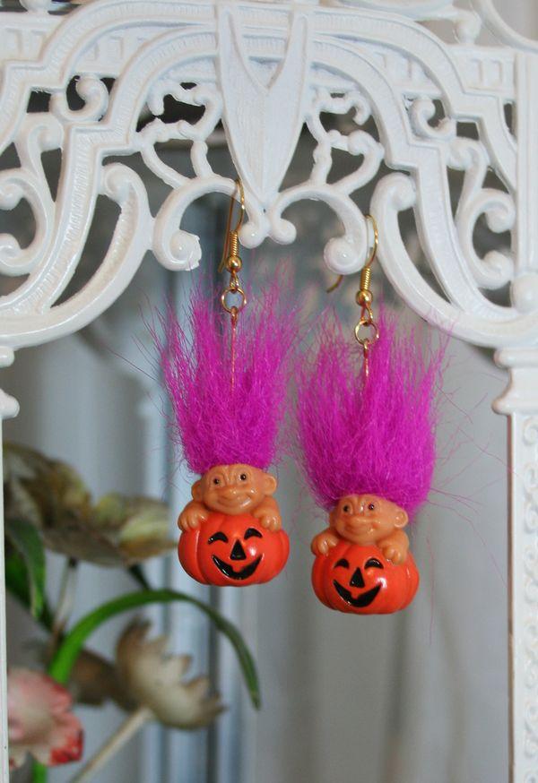 Troll pumpkin patch earrings
