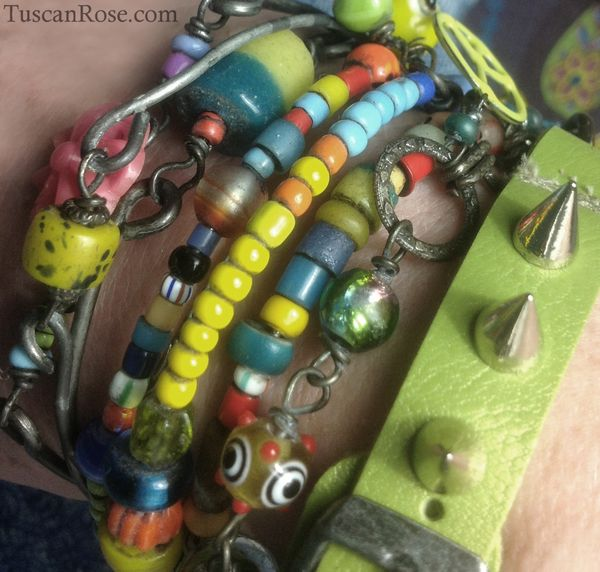Bangle stack with leather and spike studs
