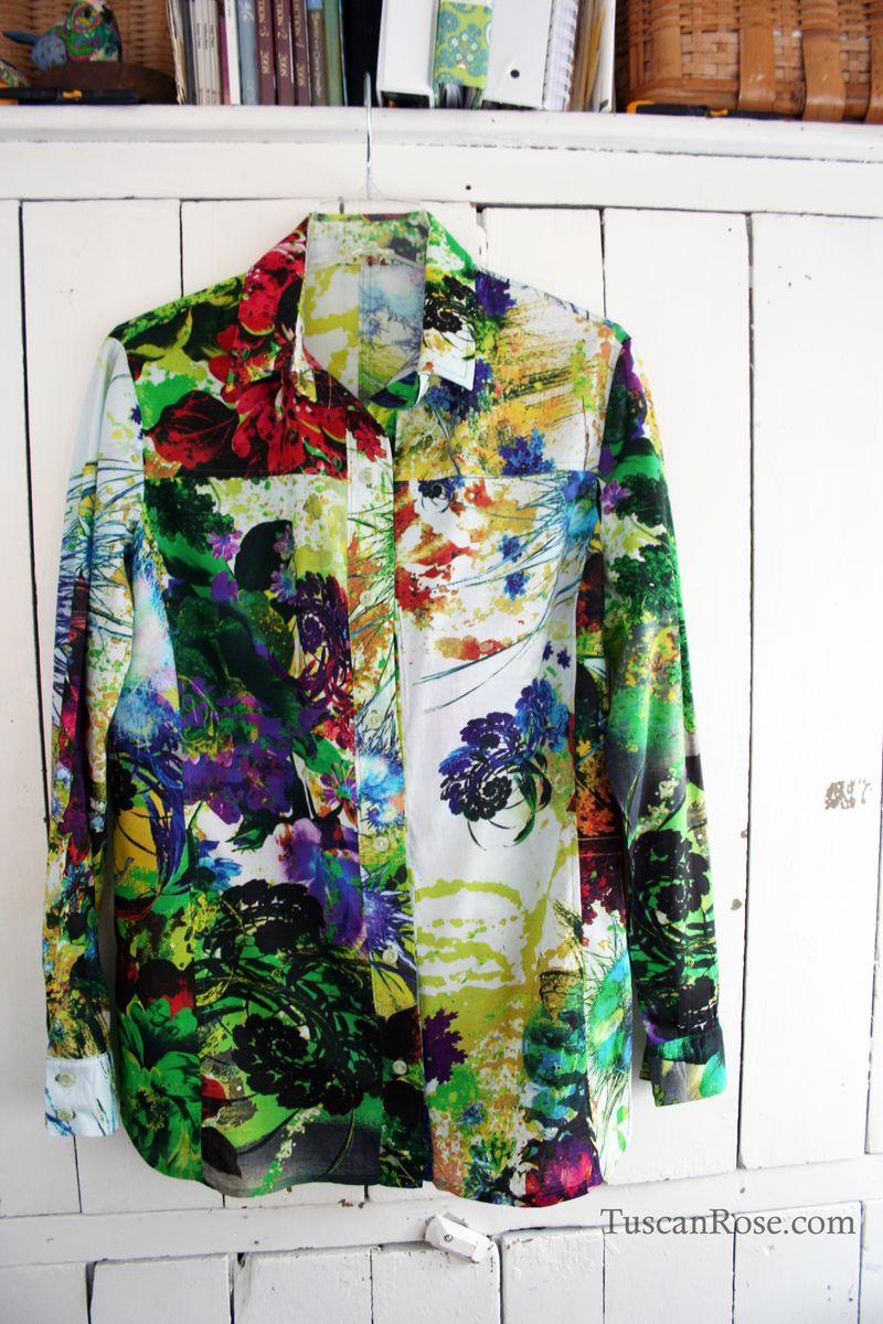 Digital print blouse vogue 8689