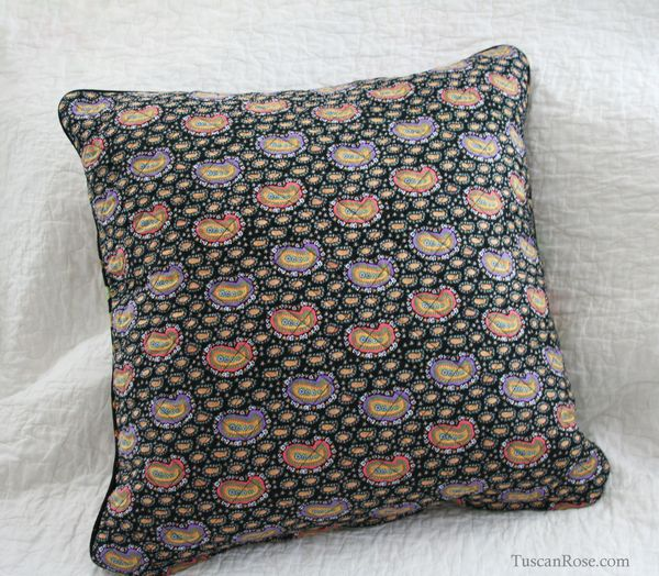 String log cabin quilted pillow cover