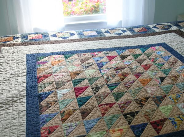 Finished half square triangle quilt