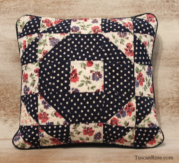Vintage quilt square pillow polka dots