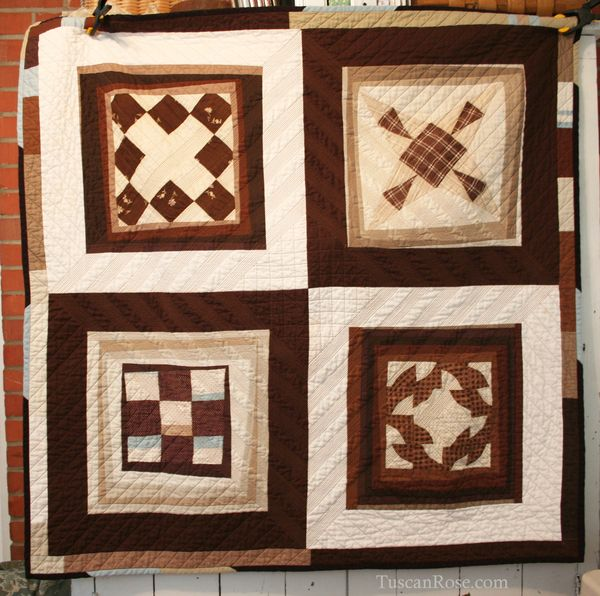 Vintage modern quilt old blocks new quilt