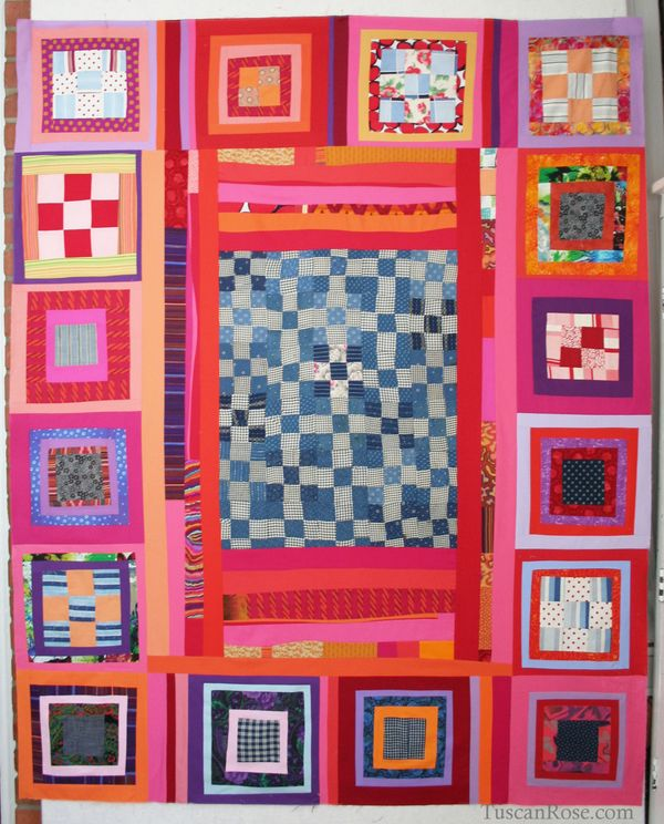 Old and new improvisational quilt