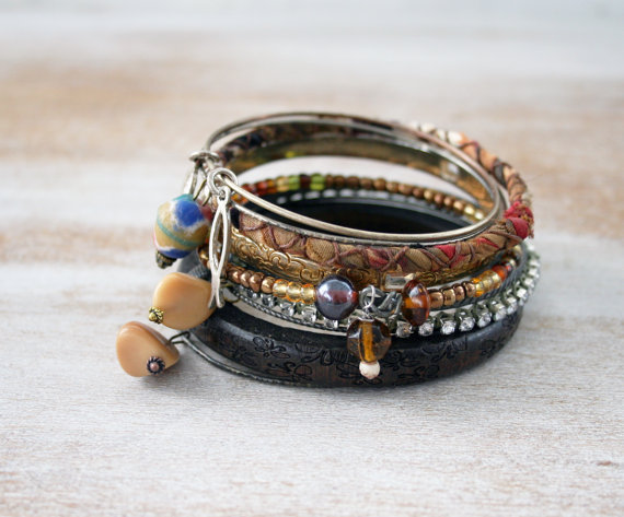 Punk gypsy bangle stack