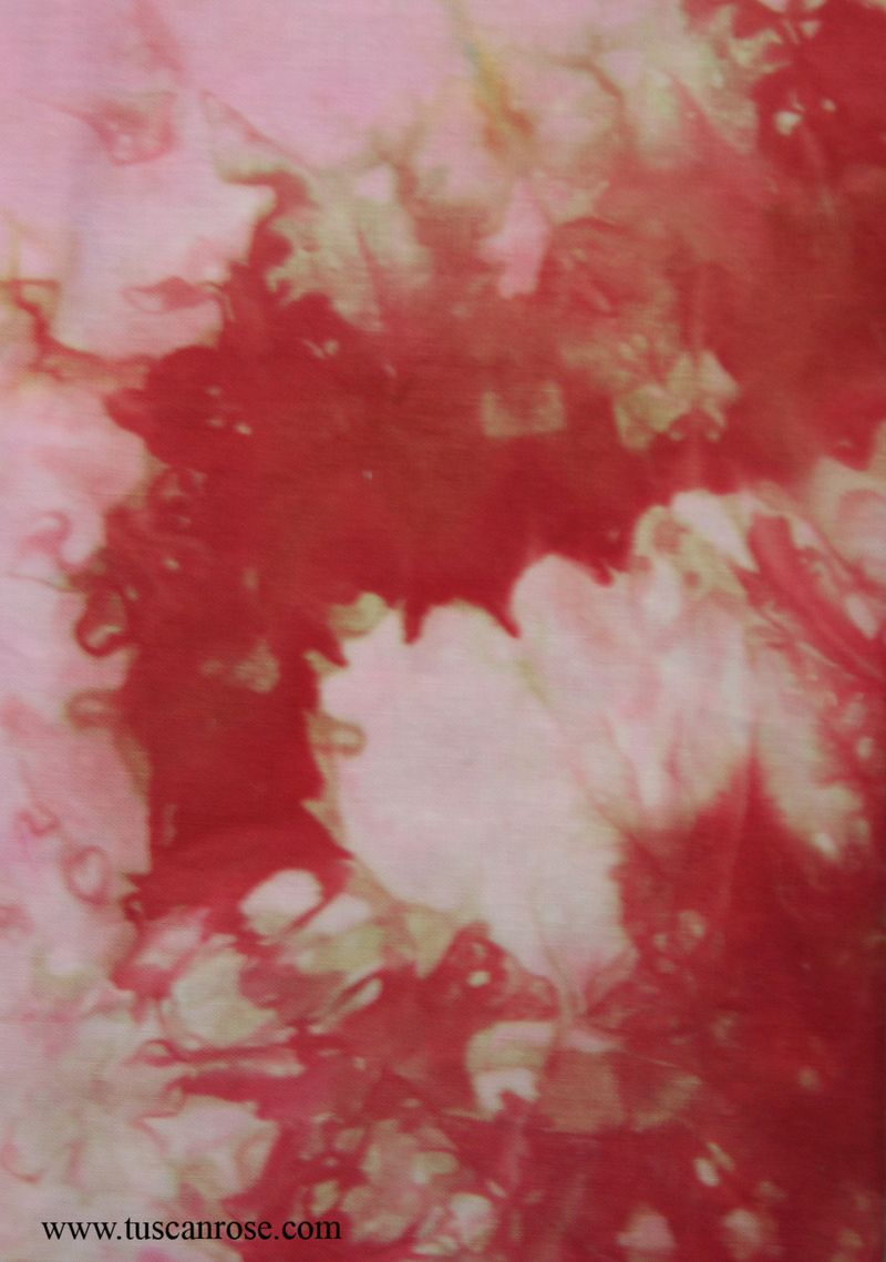 Hand dyed fabric tuscan rose e