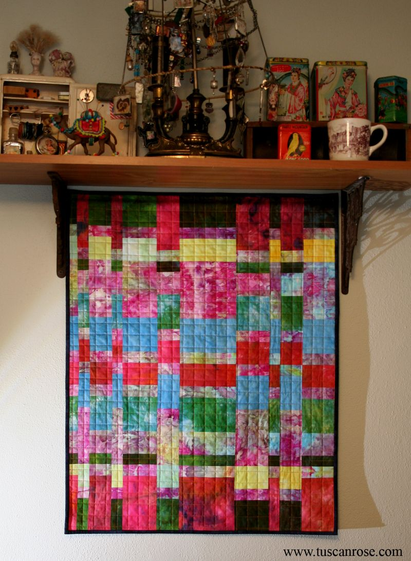 Fibonacci hand dyed quilt