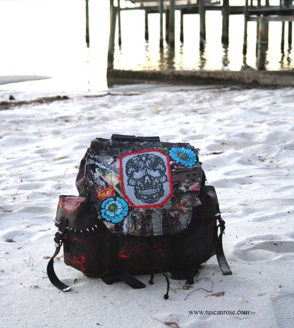 Lacey skull altered military backpack art bag a
