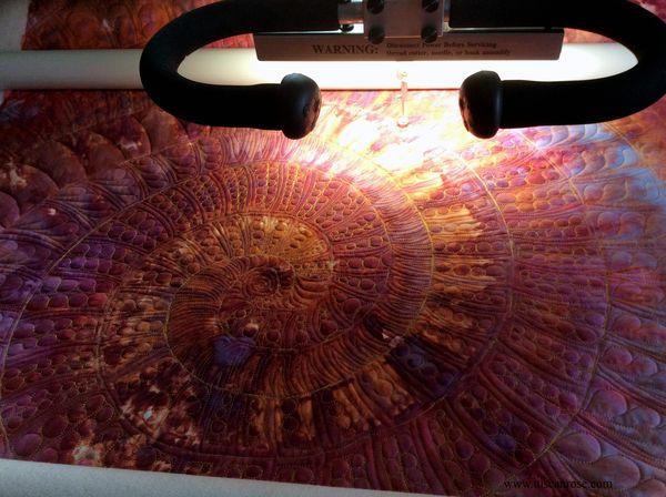 Nautilus whole cloth quilt tuscan rose longarm