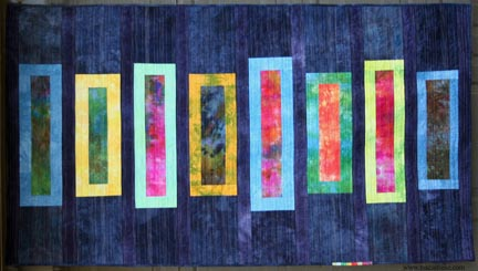 Mid Century Modern quilt hand dyed fabric