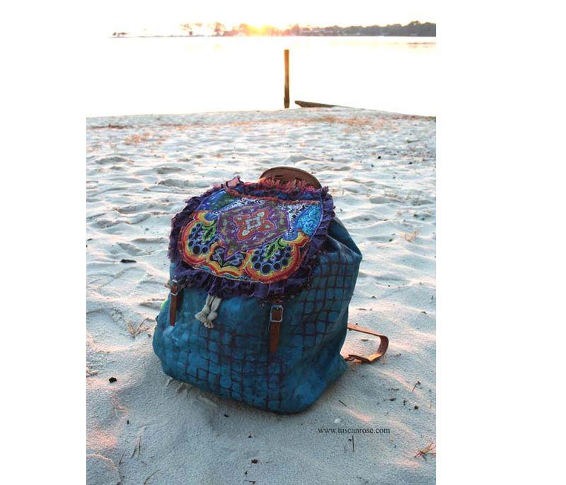 Tuscan rose urban tribal gypsy backback bag  a