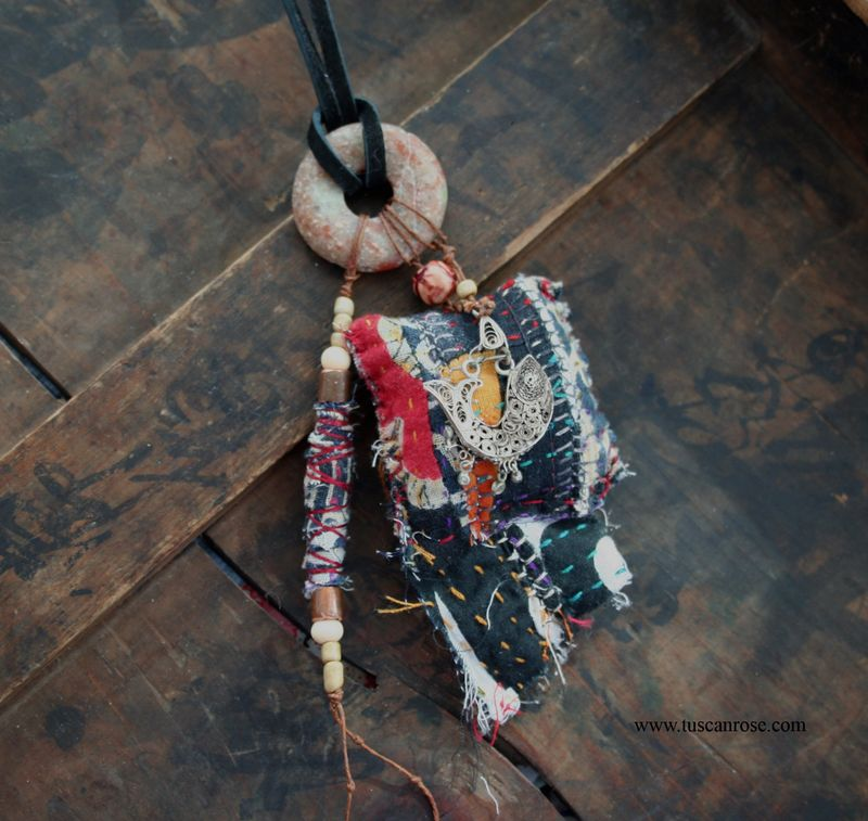 Kuchi fish and kantha amulet talisman necklace (3)