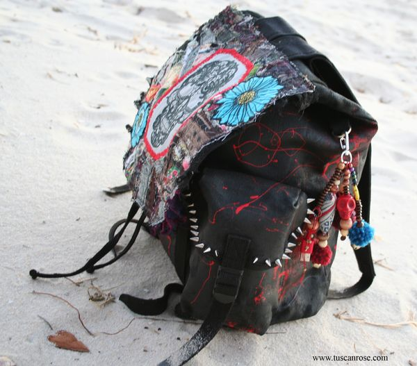 Lacey skull altered military backpack art bag f
